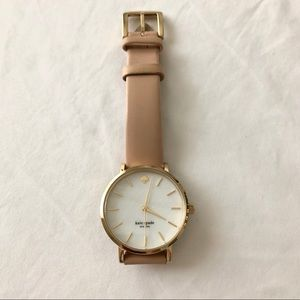 Kate Spade Metro Round Leather Strap Watch Cream